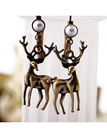 Retro Bronze Pearl Decorated Antelope Shape Design Alloy