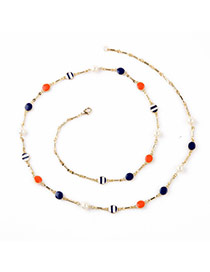 Sweet Multicolor Pearl Decorated Simple Design Alloy Fashion Necklaces