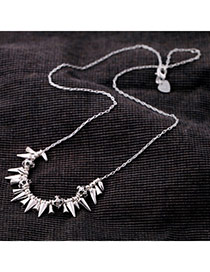 Fashion Silver Color Rivet Decorated Punk Simple Design Alloy Korean Necklaces