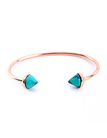 Bardian Green Gemstone Decorated Simple Design Alloy Fashion Bangles