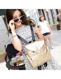 Personality Gold Color Owl Shape Simple Design  Pu Backpack