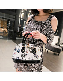 Personality White+black Multielement Pattern Decorated Simple Design  Pu Handbags