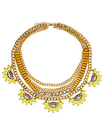 Pretty Yellow Fan Shape Gemstone Decorated Multilayer Design Ally Fashion Necklaces