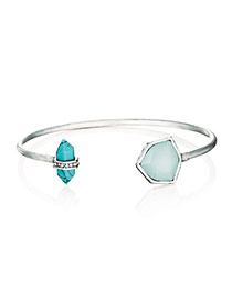 Retro Silver Color Gemstone Decorated Open Design Alloy Fashion Bangles