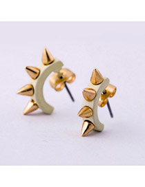 Personality Beige Rivet Decorated U Shape Design Alloy Stud Earrings