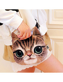 Personality Light Gray Cat Pattern Simple Design  Cotton Shoulder bags