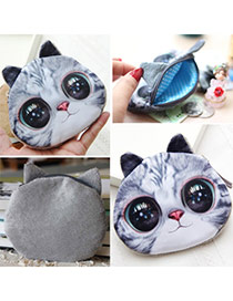 Personality Gray Cat Pattern Simple Design  Cotton Wallet