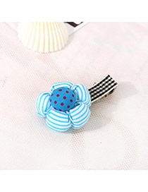 Fashion Blue Dot Pattern Decorated Flower Design Fabric Hair clip hair claw