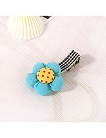 Fashion Blue&yellow Dot Pattern Decorated Flower Design Fabric Hair clip hair claw