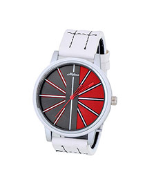Bardian White Stripe Pattern Decorated Color Matching Design  Alloy Men's Watches
