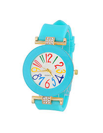 Sweet Green Diamond Decorated Simple Design  Alloy Ladies Watches