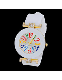 Sweet White Diamond Decorated Simple Design  Alloy Ladies Watches