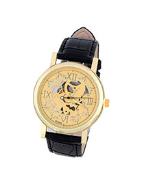Retro Black&gold Color Roman Numerals Decorated Hollow Out Design