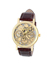 Bardian Coffee&gold Color Gear Pattern Decorated Hollow Out Design Alloy Men's Watches