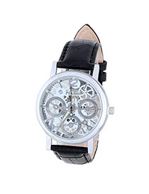 Bardian Black&silver Color Gear Pattern Decorated Hollow Out Design Alloy Men's Watches