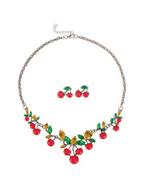 Personalized Red Cherry Shape Decorated Simpe Design  Resin Jewelry Sets