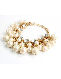 Exquisite Gold Color Pearl Decorated Simple Design