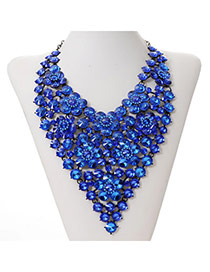 Luxury Sapphire Blue Wintersweet Decorated V Shape Design