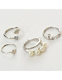 Fashion Silver Color Letter Love Decorated Multi-element Design  Alloy Korean Rings