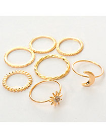 Fashion Gold Color Moon Shape Decorated Simple Design  Alloy Korean Rings