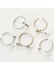 Fashion Silver Color Pearl Decorated Simple Design  Alloy Korean Rings