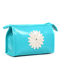 Fashion Blue Sunflower Decorated Pure Color Design Pu Home Storage Bags