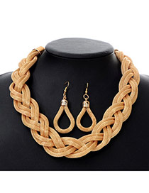 Fashion Gold Color Twist Weave Hollow Out Design Alloy Jewelry Sets