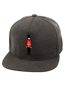 Fashion Gray Soldier Embroideried Decorated Simple Design  Canvas Baseball Caps