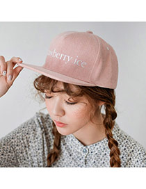Fashion Pink Letter Strawberry Ice Embroideried Decorated Simple Design  Canvas Baseball Caps