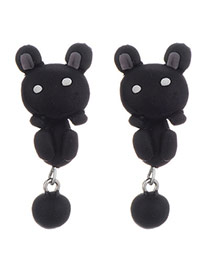 Cute Black Rabbit Shape Decorated Simple Design Alloy Stud Earrings