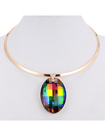 Charming Multicolor Oval Diamond Pendant Decorated Simple Design Alloy Pendants