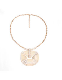 Retro Gold Color Geometric Shape Decorated Simple Design Alloy Bib Necklaces