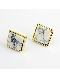 Personality Gold Color Stone Decorated Square Design Alloy