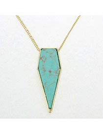 Personality Green Stone Pendant Decorated Gemetrical Shape Design Alloy