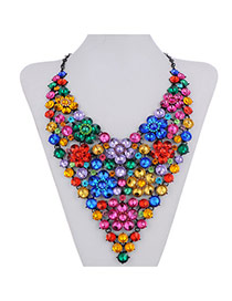 Luxurious Multicolor Diamond Decorated Flower Design
