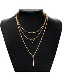 Fashion Gold Color Triangle Shape Decorated Multilayer Design Alloy Chains