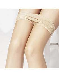 Sexy Skin Color Thin Pure Color Simple Design  Core Spun Yarn Fashion Stockings