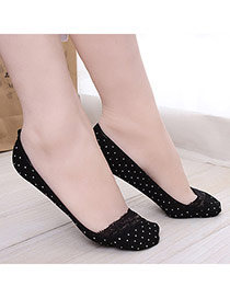 Sweet Black Dots Pattern Decorated Lace Design  Cotton Fashion Socks