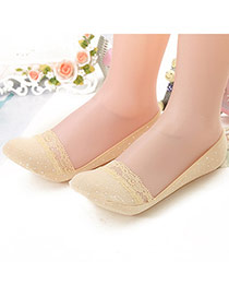 Sweet Apricot Dots Pattern Decorated Lace Design  Cotton Fashion Socks