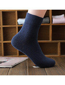 Classic Navy Blue Thick Pure Color Simple Design  Cotton Fashion Socks