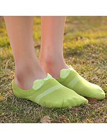 Sweet Green Bowknot Decorated Simple Design  Cotton Fashion Socks