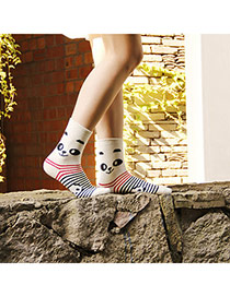 Sweet Beige Thick Panda Pattern Decorated Simple Design  Wool Fashion Socks