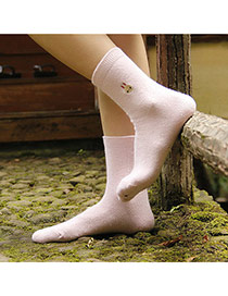 Classic Pink Thick Rabbit Pattern Decorated Pure Color Design  Wool Fashion Socks