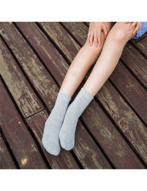 Classic Gray Thick Candy Color Simple Design  Cotton Fashion Socks
