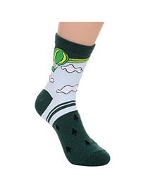 Lovely Dark Green Thick Fire Balloon Pattern Decorated Simple Design  Cotton Fashion Socks