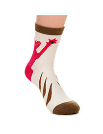 Lovely Coffee Thick Cat Pattern Decorated Simple Design  Cotton Fashion Socks