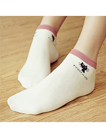 Lovely White Thick Cat Pattern Decorated Short Design  Cotton Fashion Socks