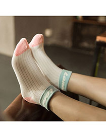 Lovely Blue Thick Letter Happy Decorated Color Matching Design  Cotton Fashion Socks