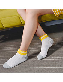 Lovely Yellow Thick Letter Happy Decorated Color Matching Design  Cotton Fashion Socks