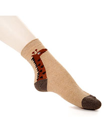 Lovely Khaki Thick Cartoon Giraffe Pattern Decorated Simple Design  Wool Fashion Socks